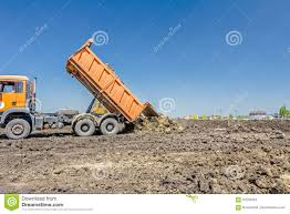 dump truck is unloading soil editorial stock photo image 91240423