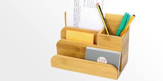 small desk organiser pen holder bamboo stationery organiser