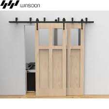 double track barn door hardware winsoon 5 16ft sliding bypass barn door hardware double track kit