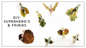 kids craft with autumn leaves making a superhero or leaf fairy