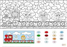 train with lion elephant and rhino color by number free