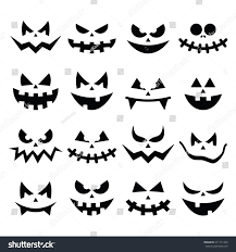 scary halloween pumpkin faces icons set stock vector 211711342