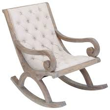 wood rocking chair white fabric button quilted cushion furniture