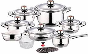 home pans amazon com swiss inox si 7000 18 piece stainless steel cookware