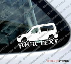 peugeot 4x4 cars 2x custom your text lowered car stickers peugeot partner combi