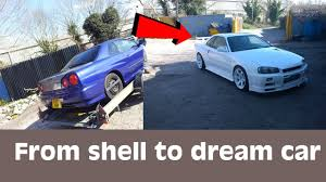 nissan gtr under 20k skyline r34 gtt to gt r full conversion from shell to dream car