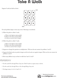 integer game worksheet education com
