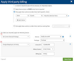 how do i charge a third party carrier account for a shipment