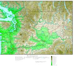 Washington State Map Outline by Washington Elevation Map