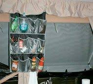 camper kitchen food use of plastic boxes for storage and a pull