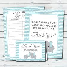 blue elephant thank you cards envelope sign baby shower gift
