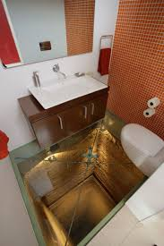 the bathroom that was built on an elevator shaft has a see thru floor