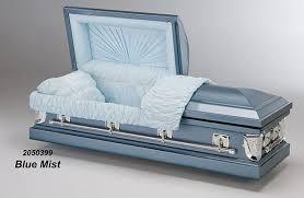 blue casket blue mist metal casket vida funeral home