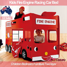 Kids Bunk Beds Fire Engine Racing Car Bed Children Bedroom - Race car bunk bed