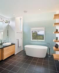 brown tile floor bathroom contemporary with accent wall aqua black