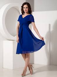 neck royal blue mother of the bride dress for beach wedding