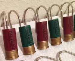 12 gauge shotgun shell vtg shower curtain hooks lodge hunting