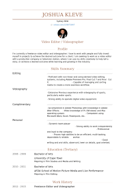 Sports Resume Sample by Videographer Resume Samples Visualcv Resume Samples Database