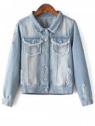 light distressed denim jacket embellished shirt collar distressed denim jacket light blue jackets