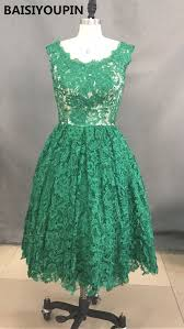 emerald green lace cocktail dresses knee legnth cap sleeve prom