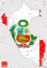 Peru On Map Flag Simple Map Of Peru Flag Centered