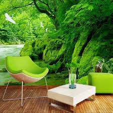 online get cheap nature scenery wall murals aliexpress com 3d wall mural wallpaper landscape natural deep forest scenery deer brook photo wall paper customized bedroom