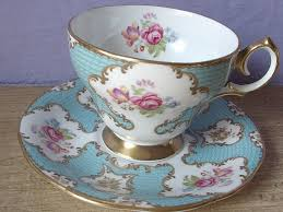 antique blue tea cup set vintage queen anne english tea cup and