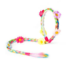 claires headbands kids rainbow faux hair braid headband with flowers s us