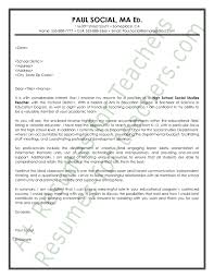 social studies teacher cover letter sample teacher and principal