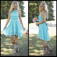 2016 beach country style turquoise high low bridesmaid dresses
