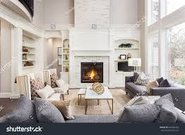 Livingroom Fireplace by Beautiful Living Room Interior Hardwood Floors Stock Photo