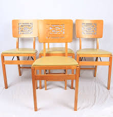 Folding Chairs Mid Century Modern Stakmore Folding Chairs Ebth