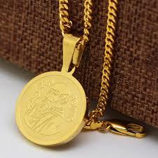 gold medallion necklace images Gold color san benito st saint benedict medallion medal charm jpg