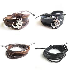 leather bracelet with silver charms images 1pcs antique silver ohm om yoga charm strand leather bracelets jpg