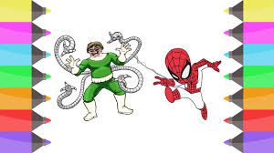 draw spiderman superhero colouring book kids learning