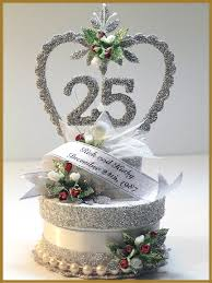 25th anniversary cake toppers 25th wedding anniversary cake topper image minish