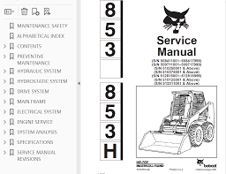 bobcat 853 853h skid steer loader service manual pdf repair