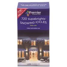 best deal on led icicle lights premier decorations 720 supabright led snowing icicle lights white