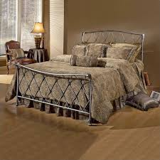 Cheap King Size Metal Bed Frame Hillsdale Silverton Metal Sleigh Bed In Brushed Silver Finish