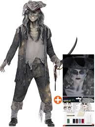 mens ladies ghost zombie pirate costume make up halloween fancy
