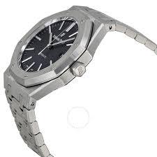 black bracelet mens watches images Audemars piguet royal oak black dial stainless steel bracelet jpg