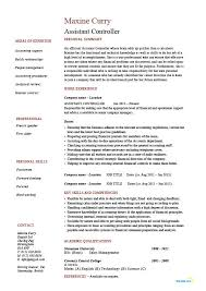 resume format for accountant assistant controller resume sle exle accounting finance