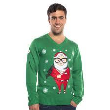 Ugly Green Hipster Santa Christmas Sweater Green U2013 Ugly Christmas Sweater Party