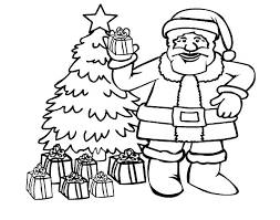 santa claus picture front christmas tree colouring