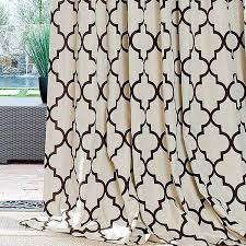 white geometric curtains iron gate brown in inverted pleat iron