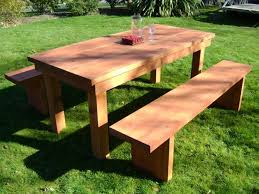 Outdoor Table And Bench Seats Home Design Charming Outdoor Table With Benches Incredible