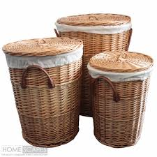 Wicker Basket Bathroom Storage Set Of 3 Willow Wicker Laundry Baskets Bathroom