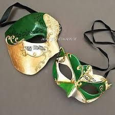 italian masquerade mask men women half green accent phantom venetian masquerade