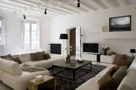 Led Tv Wall Table Cream Stained Wooden Wall Mounted Shelf Contemporary Living Area