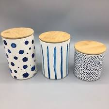 pottery kitchen canister sets blue stripes dots kitchen canister set of 3 pottery bamboo lid jar